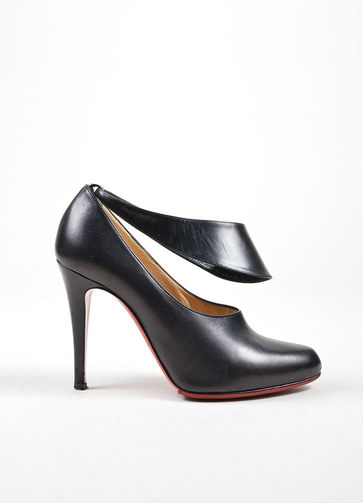 "Black Christian Louboutin Leather ""Miss Zorra"" Booties Sideview"