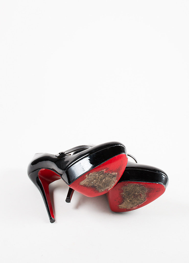 "Black Christian Louboutin Patent Leather ""Relika 140"" Mary Jane Pumps Outsoles"