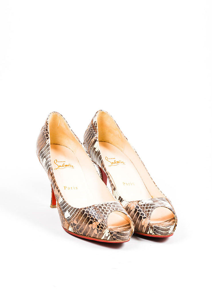 Brown Christian Louboutin Patchwork Watersnake Very Prive Peep Toe Pumps Frontview