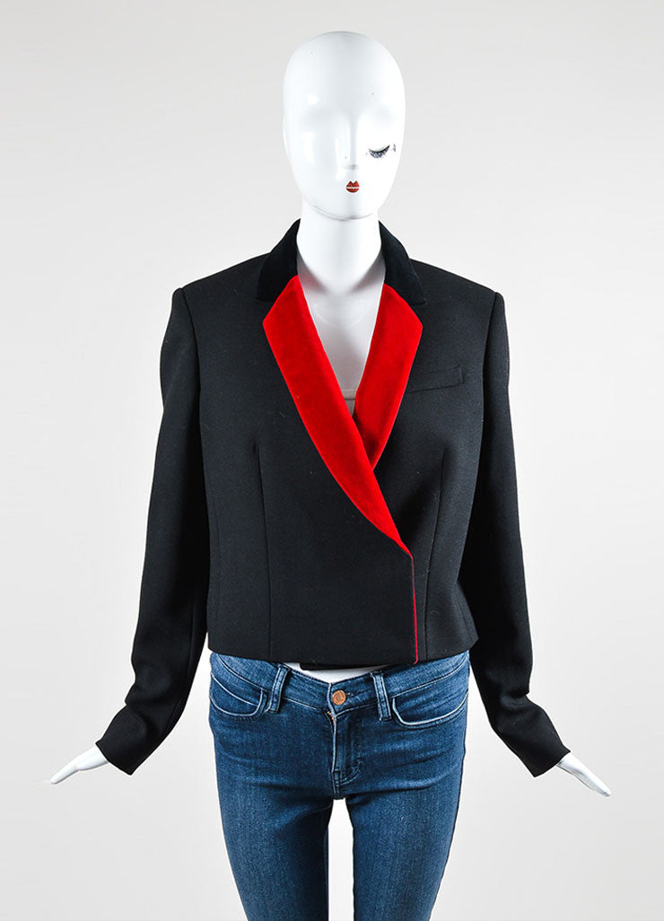 Black and Red Christopher Kane Wool Velvet Long Sleeve Blazer Jacket Frontview 2
