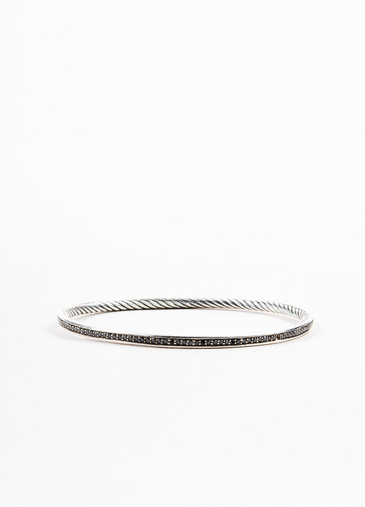 "David Yurman Sterling Silver and Black Diamonds ""Cable Inside"" Bangle Bracelet Backview"
