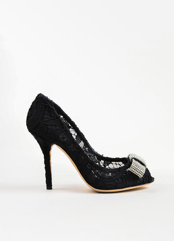 Dolce & Gabbana Black Lace Rhinestone Bow Peep Toe Pumps Sideview