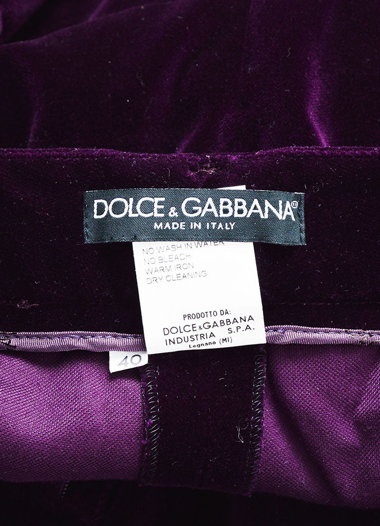 Dolce & Gabbana Purple Velvet 3 Piece Long Sleeve Jacket Vest Pants Suit Brand