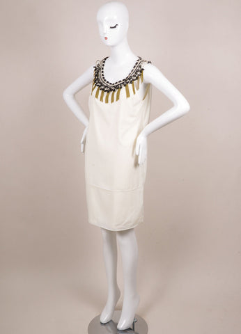 Erin by Erin Fetherson New With Tags Cream Silk Embellished Sleeveless Shift Dress Sideview