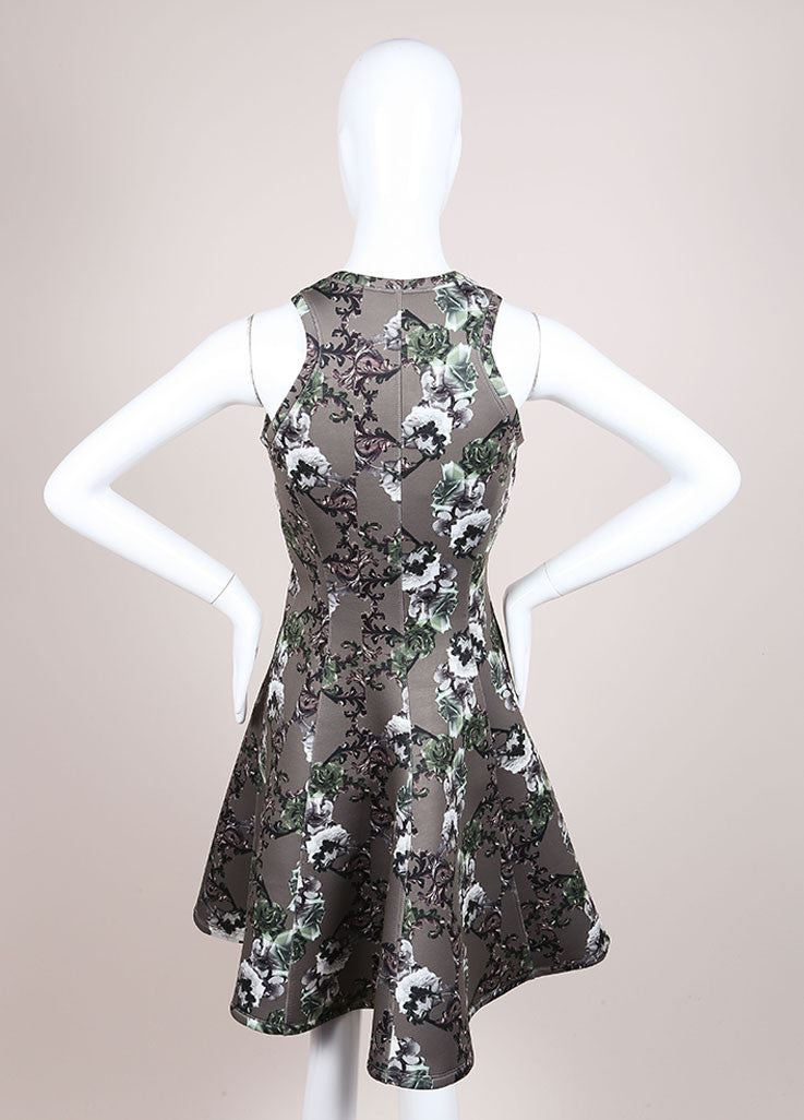Faith Connexion New With Tags Green Floral Print Neoprene Fit and Flare Dress Backview