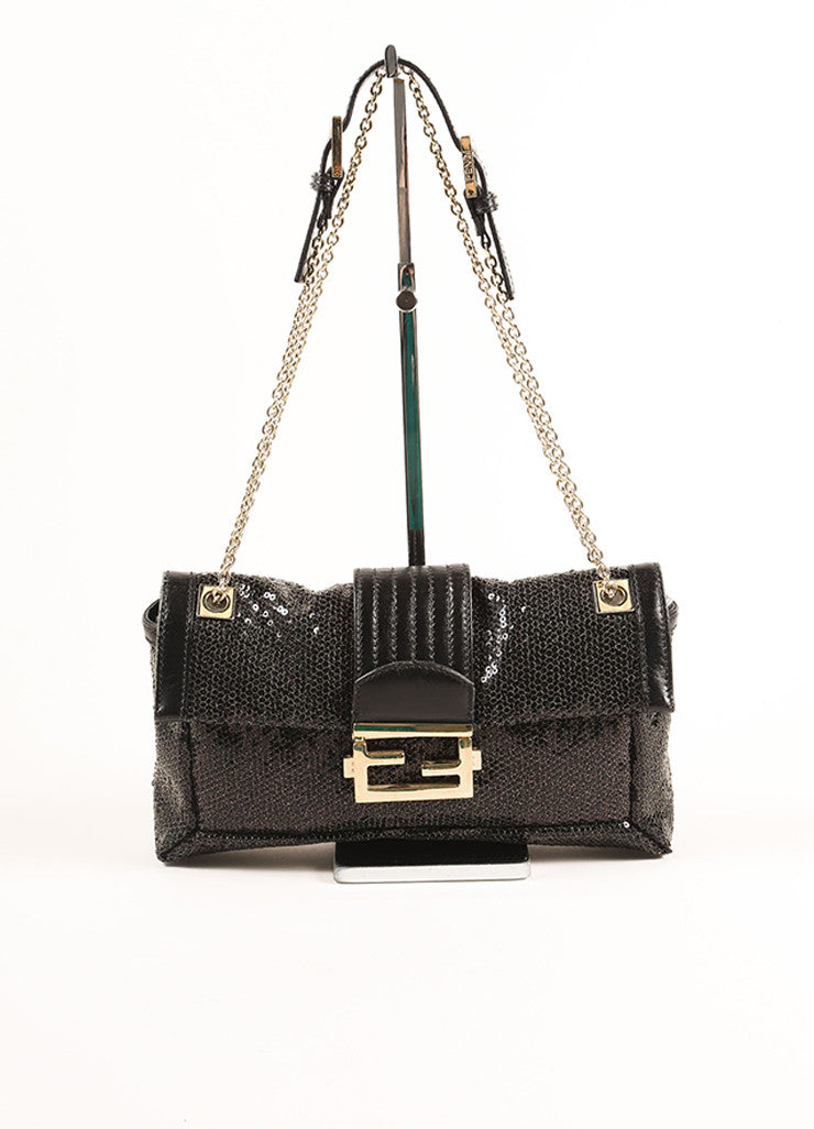 "Fendi Black Sequin Leather Trim Chain Strap ""FF"" Flap Baguette  Frontview"