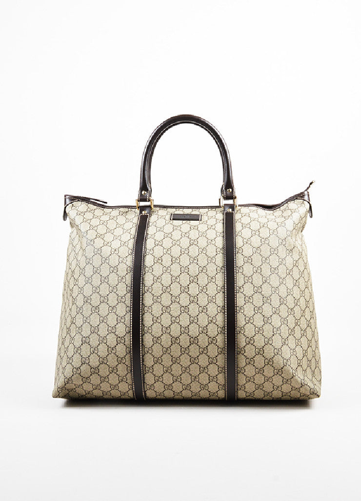 Gucci Ebony Brown & Beige Medium Tote front