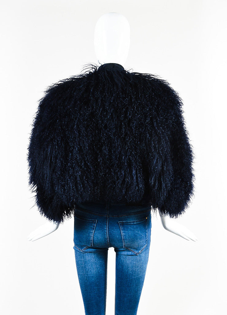 Gucci Navy Blue Shaggy Shearling Fur Suede Tie Sleeveless Shrug Jacket Backview