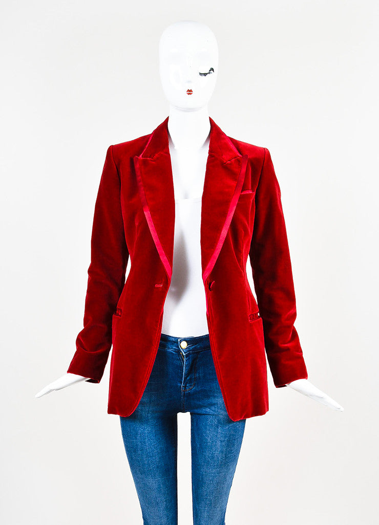 Gucci Red Velvet Satin Trim Wide Leg High Waist Tuxedo Pantsuit Jacket