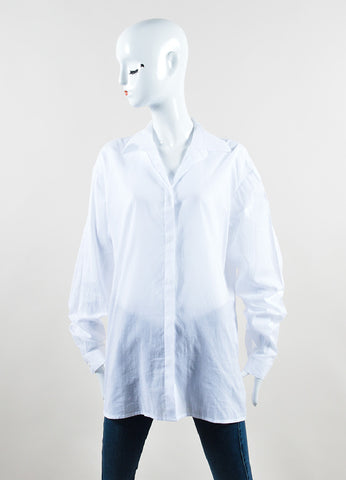 Haider Ackermann White Cotton Oversized Long Sleeve Button Down Shirt  Frontview