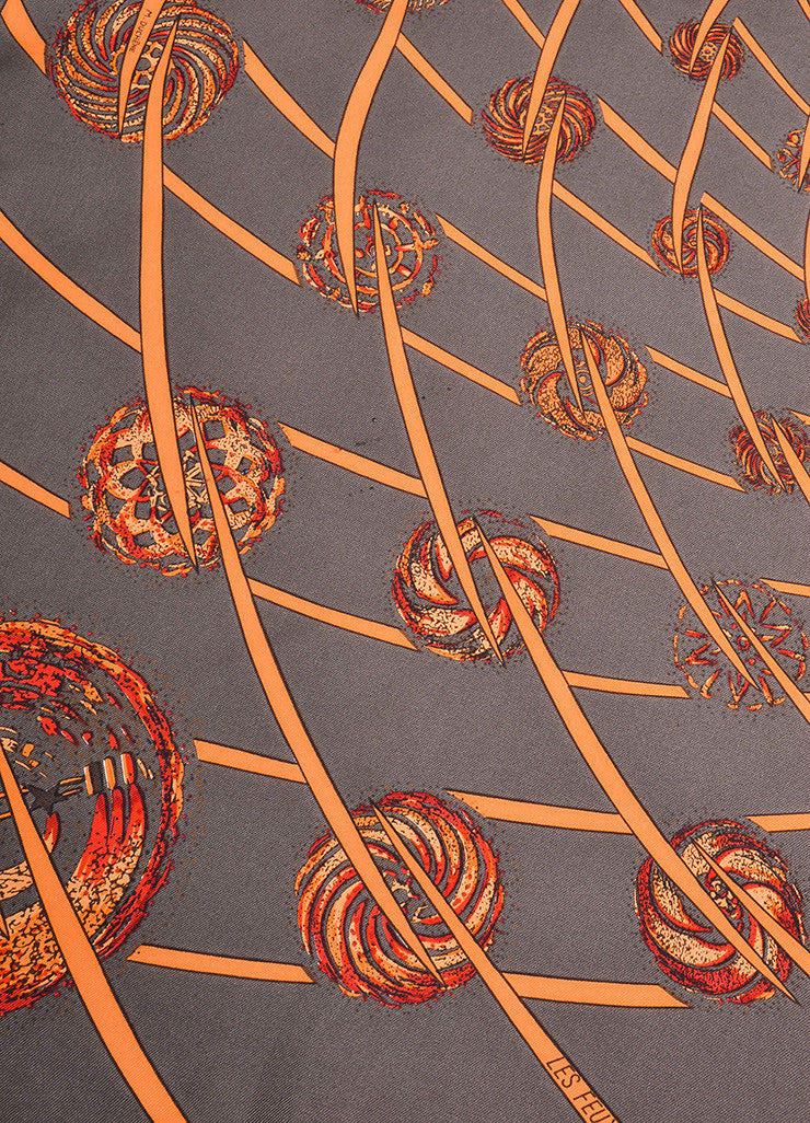 "Brown, Orange, and Red Hermes Silk ""Les Feux de L'Espace"" Printed Scarf Detail"