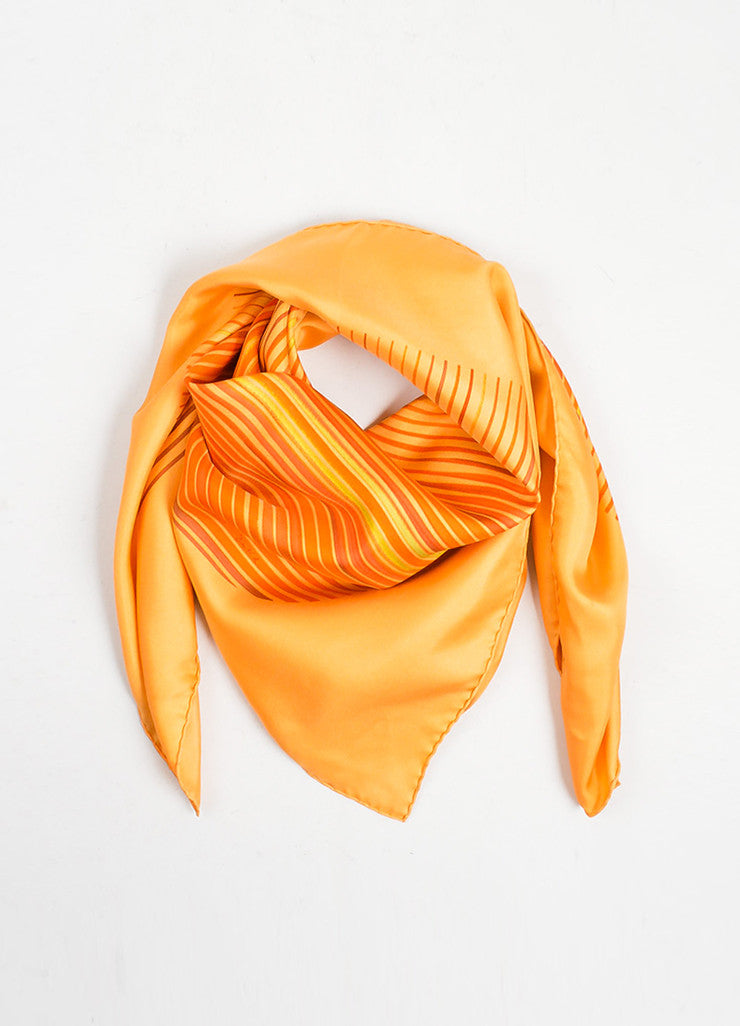 "Orange Hermes Silk Twill Stripe Printed ""Faubourg Express"" 90cm Scarf Frontview"