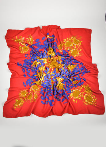 "Red, Gold, and Blue Hermes Floral ""Fleurs et Carlines"" Cashmere and Silk Scarf Frontview"