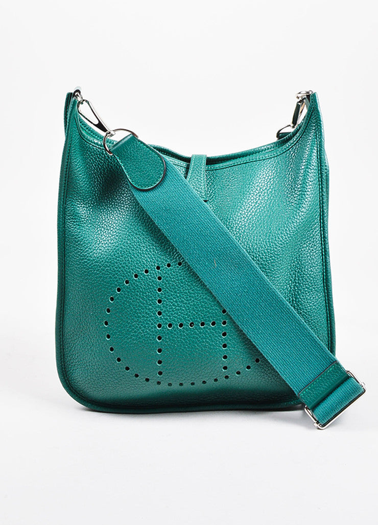 "Hermes Vert Clair Green Clemence Leather ""Evelyne III 29"" Shoulder Bag Front"