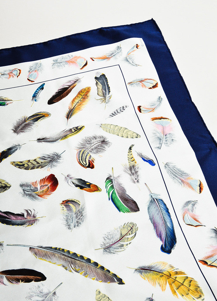 "Hermes White, Blue, and Multicolor Silk ""Plumes"" Scarf Detail"