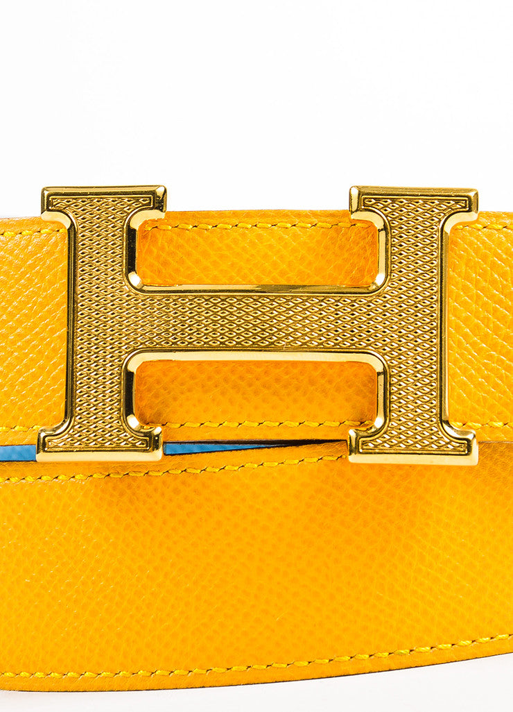 "Hermes ""Jaune D'or"" Yellow and ""Bleu Jean"" Blue Epsom Leather ""Constance"" Belt Detail"
