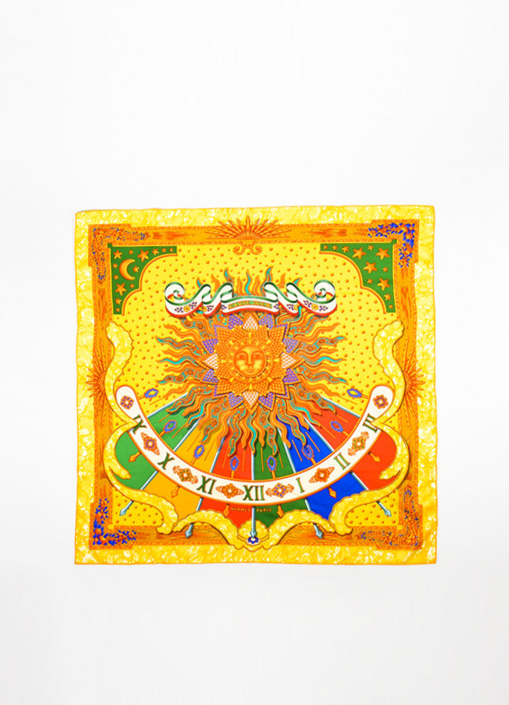 "Hermes Yellow, Orange, and Multicolor Silk Sun Print ""Carpe Diem"" Scarf Frontview 2"