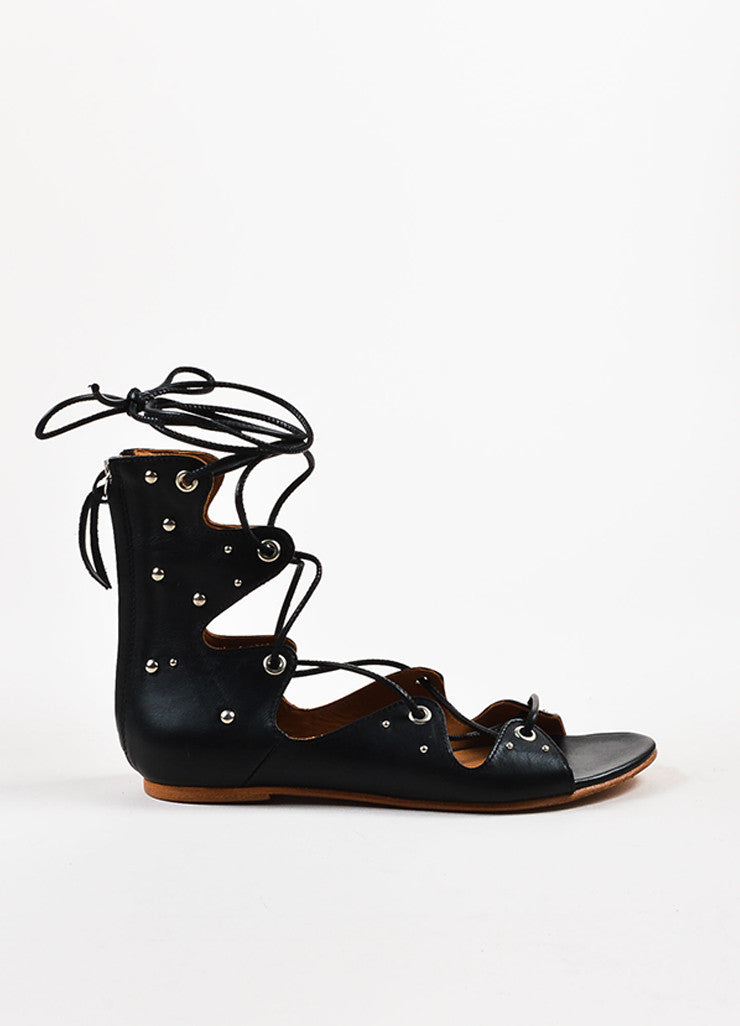"Black IRO Leather Studded Lace Up ""Xiri"" Flat Gladiator Sandals Side"