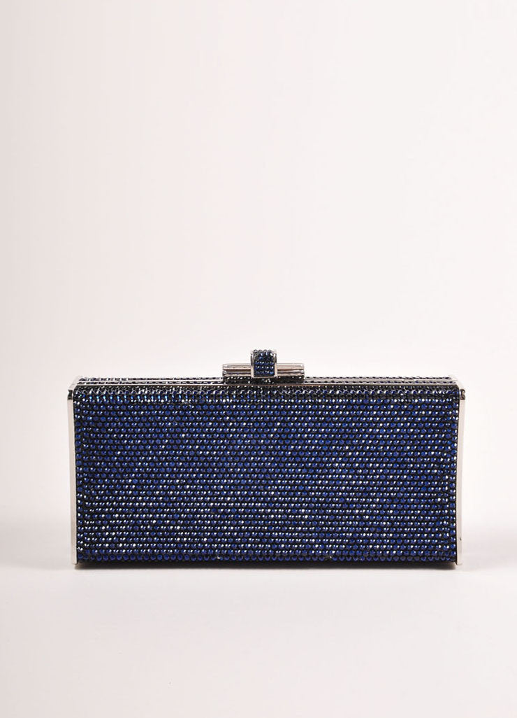 Judith Leiber Navy and Silver Rhinestone Small Rectangular Minaudiere Clutch Bag Frontview