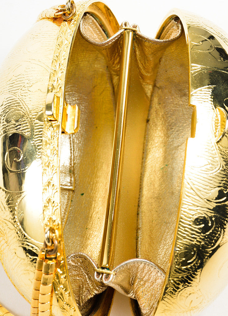 Judith Leiber Gold Toned Metallic Round Hinged Egg Etched Shoulder Bag Interior