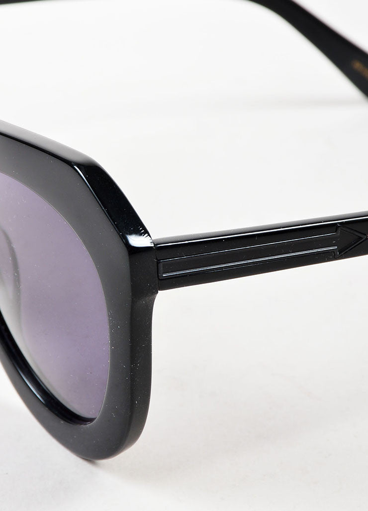 "Karen Walker Black ""One Worship"" Oversized Sunglasses Detail"