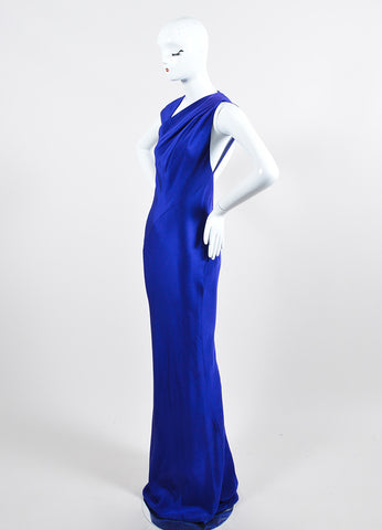 Blue Kaufmanfranco Silk Sleeveless Geometric Open Back Gown Sideview
