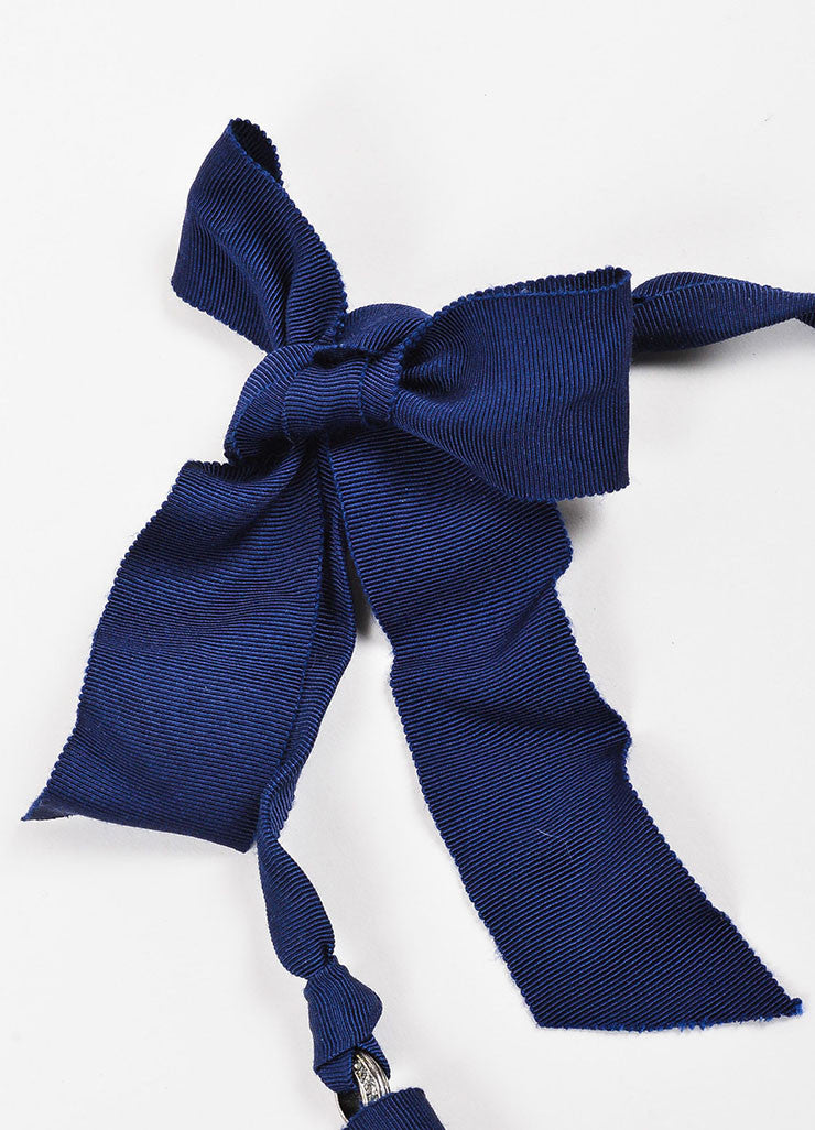 Navy Blue Lanvin Faux Pearl Grosgrain Ribbon Tie Necklace Detail 3