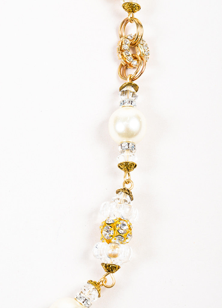 Lawrence Vrba Gold Toned White Faux Pearl Crystal Embellished Strand Necklace Detail 2
