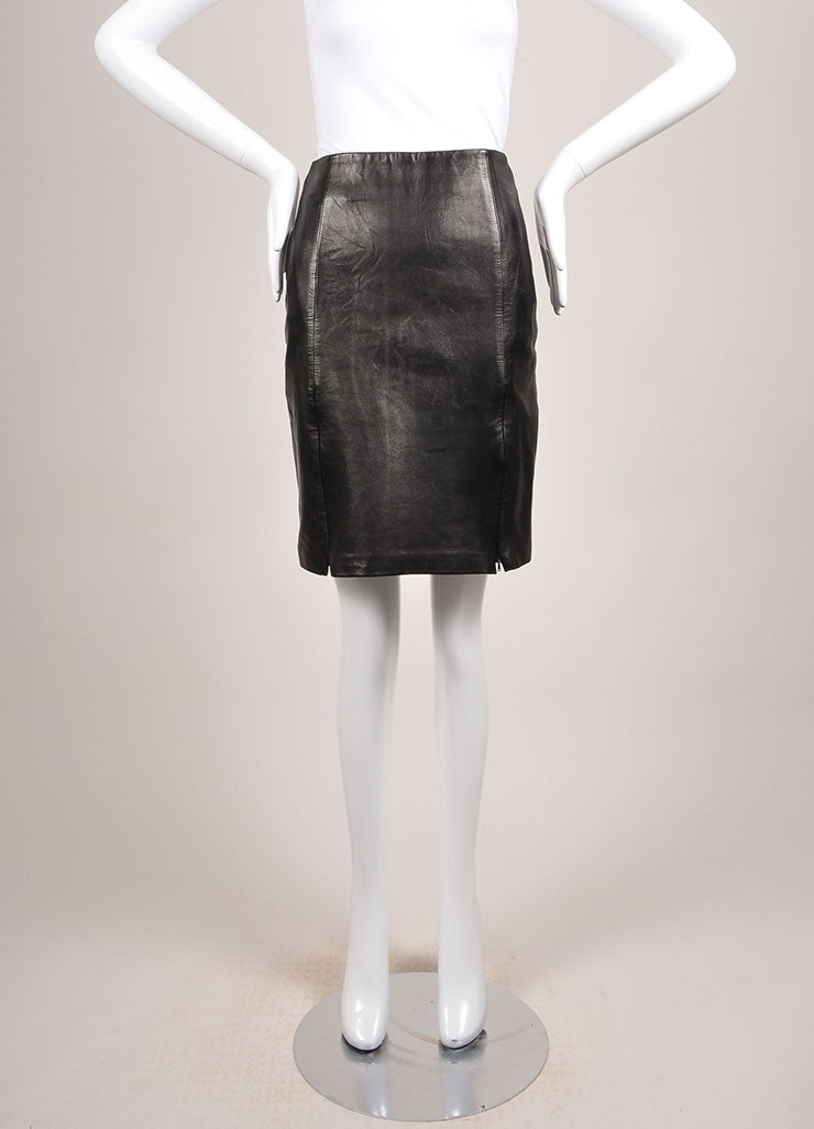 Michael Hoban Black Leather Zip Front Pencil Skirt Frontview