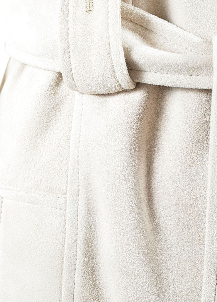 Michael Kors Taupe Suede Belted Sleeveless Dress Detail
