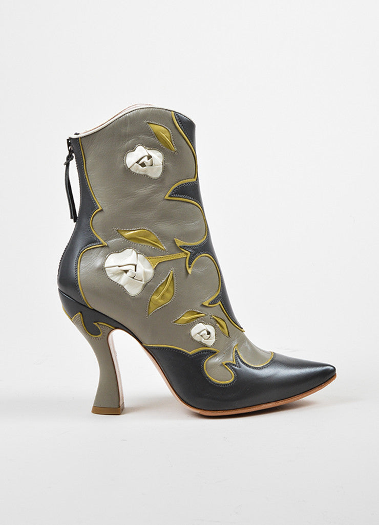 Miu Miu Grey, Yellow, and Cream Leather Floral Western Heeled Boots Sideview