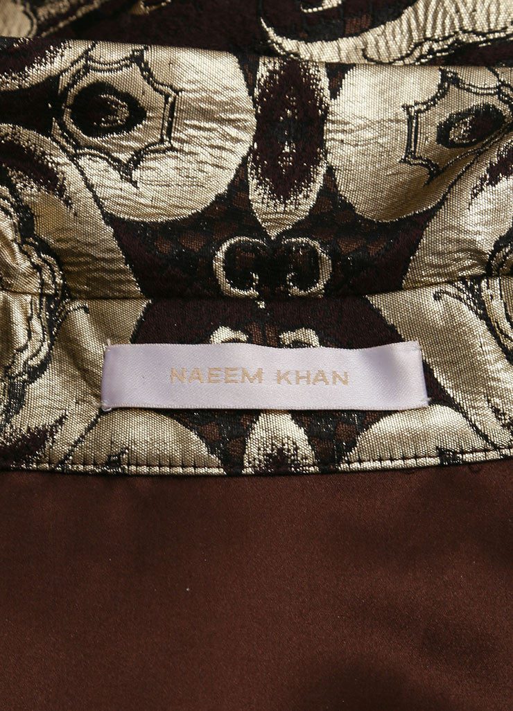 Naeem Khan New With Tags Gold and Brown Brocade Short Sleeve Belted Wool and Silk Shirt Dress Brand
