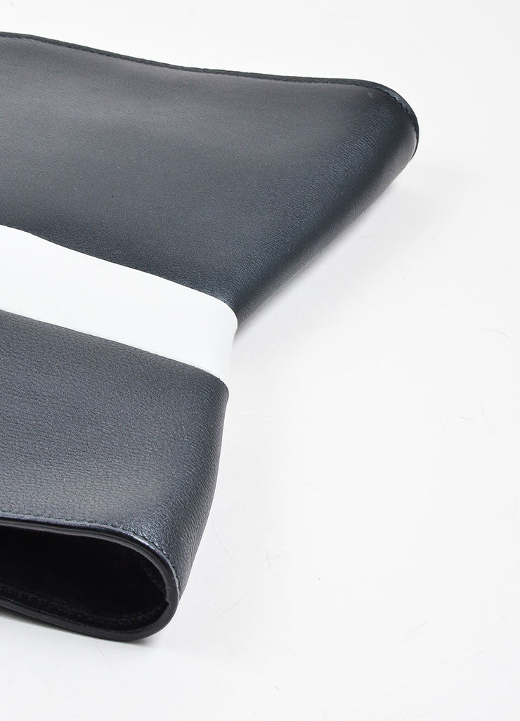 "Black and Grey Narciso Rodriguez Leather Stripe Zip ""Boomerang"" Clutch Bag Bottom View"