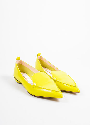 Nicholas Kirkwood Electric Yellow Patent Leather Loafers  Frontview