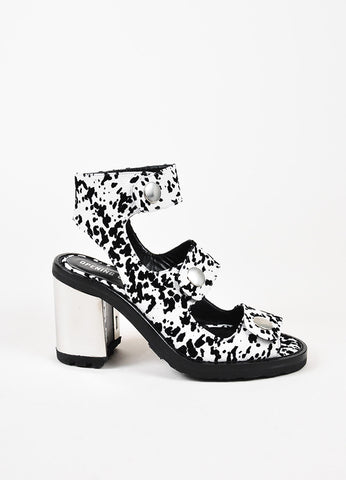 "Opening Ceremony White Black Leather Velvet ""Isa"" Strappy Sandals Side"