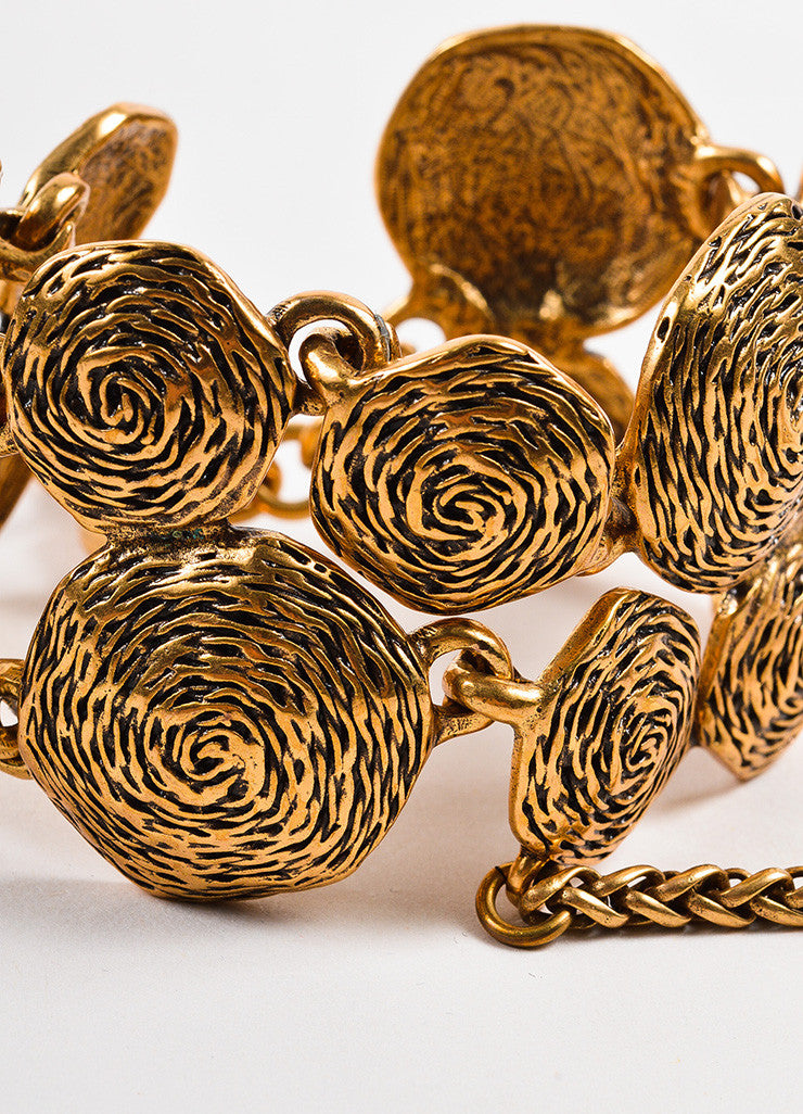 "Gold-Tone Oscar de la Renta Swirl Hand Chain ""Panja"" Bracelet and Ring Detail"