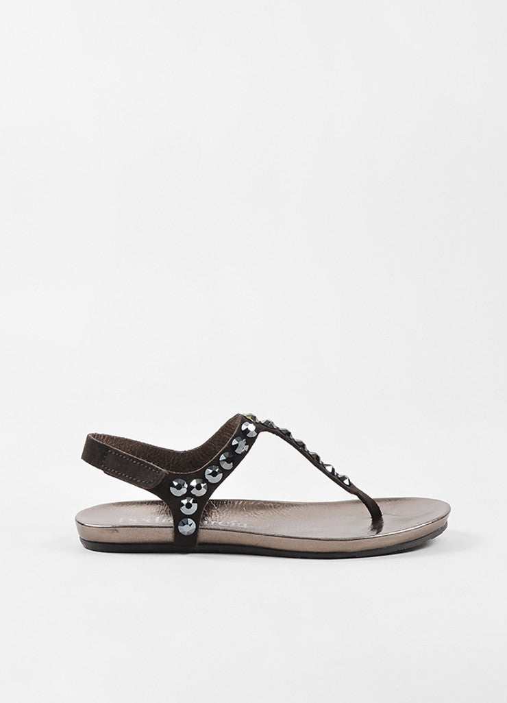 "Brown Pedro Garcia Suede ""Judith"" Crystal Stud Thong Sandals Side"