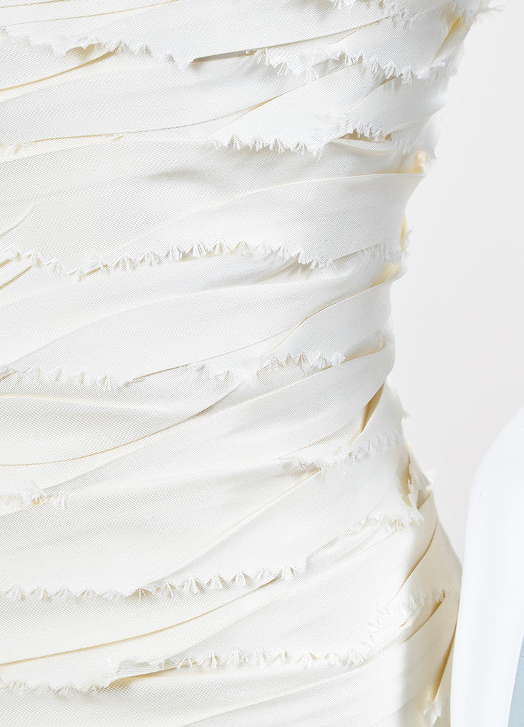 Cream Peter Langner Tiered Unfinished Edge Strapless Wedding Dress Detail