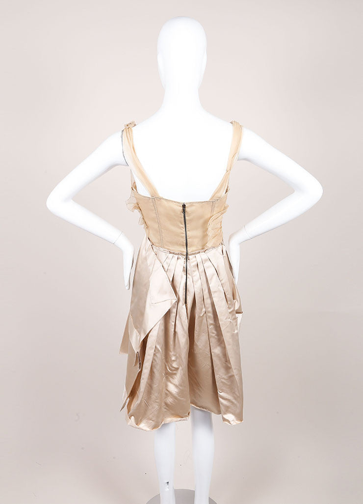 Prada Champagne and Taupe Satin Chiffon Ruched Flared Sleeveless Dress Backview