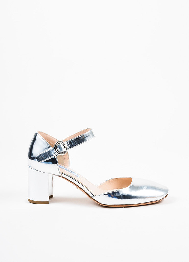 Silver Prada Patent Leather Mary Jane Chunky Heel Pumps Side