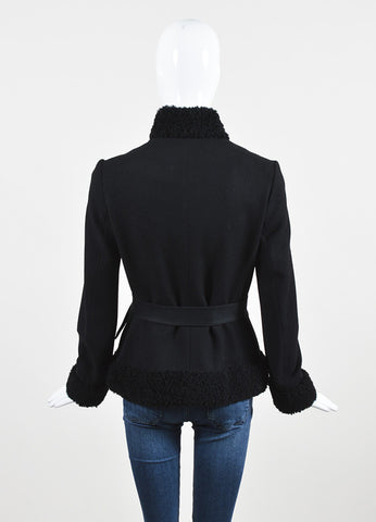 Ralph Lauren Black Label Black Wool Shearling Trim Belted Coat Jacket Backview