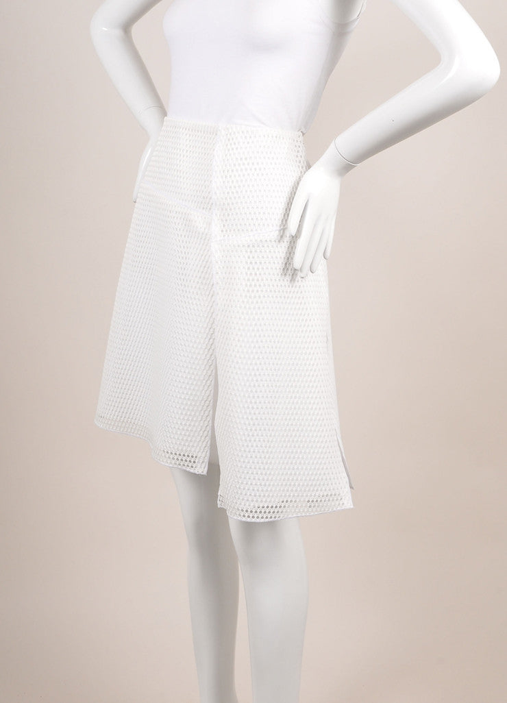 "Reed Krakoff New With Tags White Knit Mesh Fishnet ""Honeycomb"" Skater Skirt Sideview"