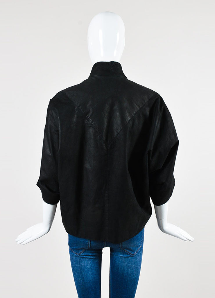 ¥éËRick Owens Black Leather Cropped Sleeve Wide Zip Jacket Backview