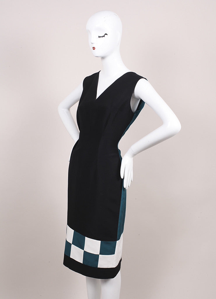 Roksanda Ilincic New Teal, Black, and White Color Block Harleton Dress Sideview