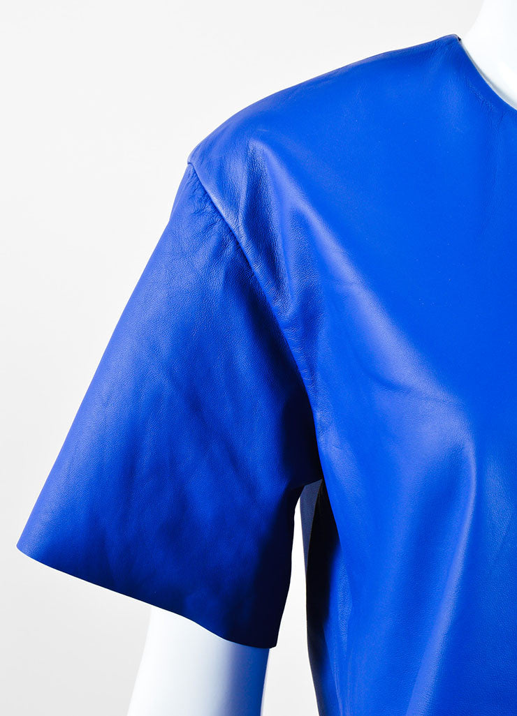 T Alexander Wang Blue Black Leather Textured Tyvek Tunic Top  Detail