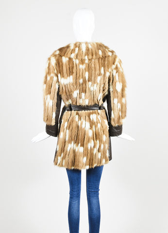 Furs by Talidis Brown and Cream Mink and Leather Belted Coat Backview