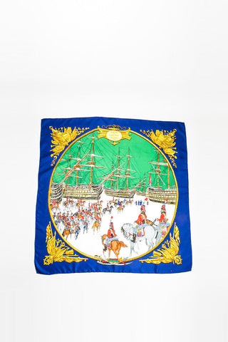 "Navy Blue, Green, and Gold Hermes Silk ""Marine Et Cavalerie"" Printed Scarf Frontview"
