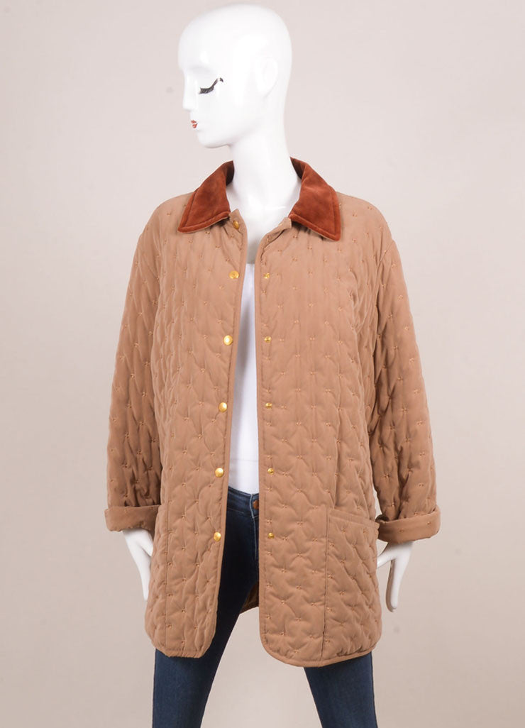 Hermes Taupe and Rust Cotton and Wool Quilted Button Up Jacket Frontview
