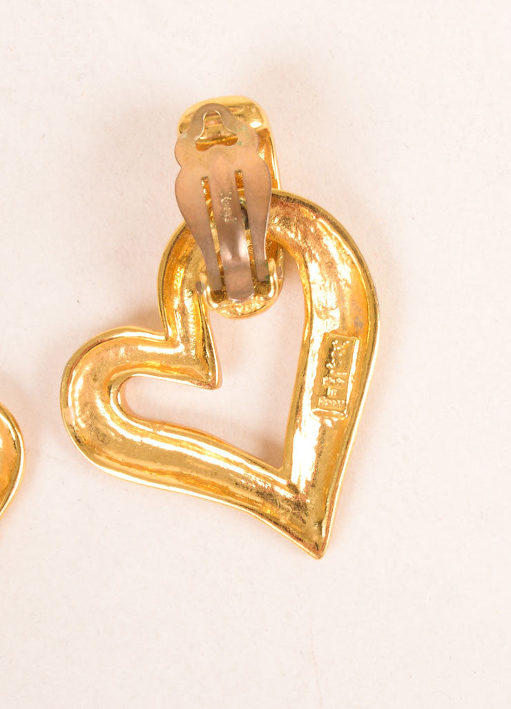 Yves Saint Laurent Gold Toned Open Heart Earrings Brand
