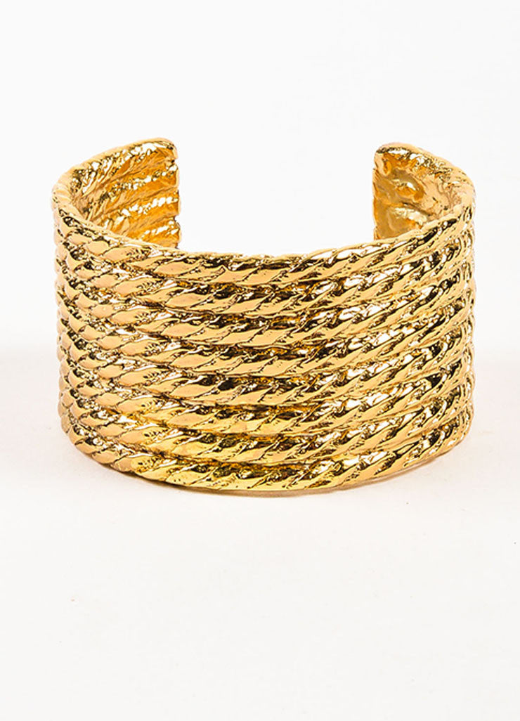 Yves Saint Laurent Gold Toned Rope Textured Wide Cuff Bracelet Frontview